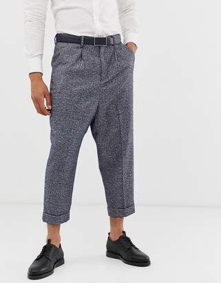 Asos Design DESIGN drop crotch tapered smart pants in blue herringbone with turn up
