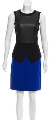 Tibi Leather-Paneled Colorblock Dress
