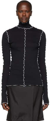 Ann Demeulemeester Black and White Cotton Turtleneck