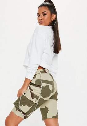 Missguided Green Camo Long Short