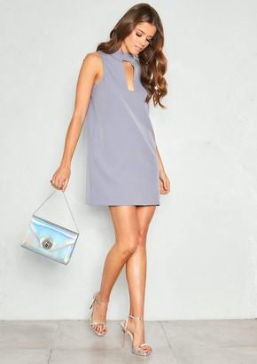 e7b798ac8d0e Missy Empire Missyempire Melody Grey Choker Cut Out Shift Dress