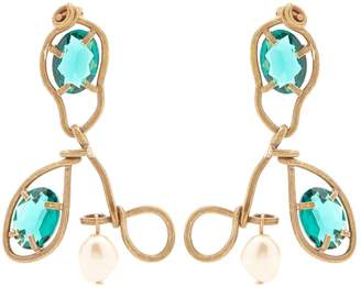 Marni Crystal-embellished and resin drop earrings