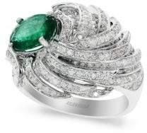 Effy Diamond, Emerald & 14K White Gold Ring