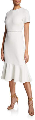 Shoshanna Ravello Short-Sleeve Flounce Dress