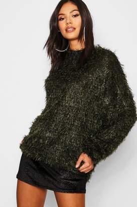 boohoo Oversized Boyfriend Fluffy Tinsel Knit Sweater