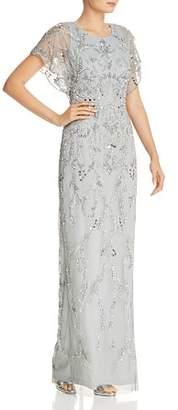 Adrianna Papell Embellished Scallop-Edged Gown