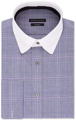 Sean John Men Big & Tall Classic/Regular-Fit Blue Plaid French Cuff Dress Shirt