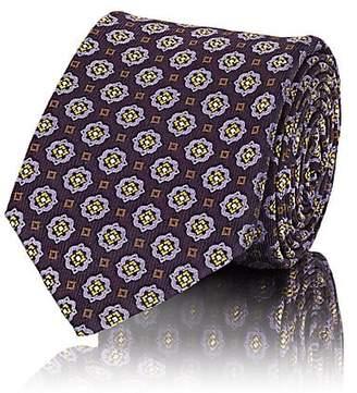 Sartorio Men's Medallion-Print Silk Faille Necktie - Purple