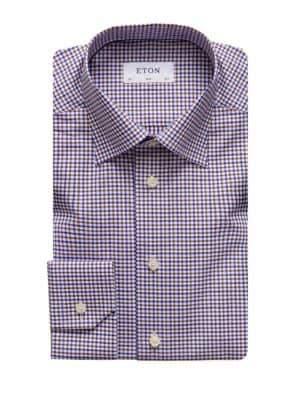Eton QR Basic Styles Slim-Fit Plaid Dress Shirt