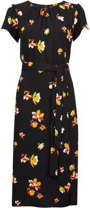 Dorothy Perkins Womens Black Floral Print Tie Detail Midi Skater Dress