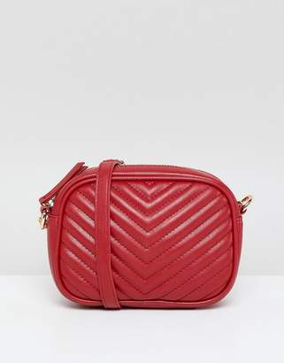 New Look quilted cross body bag in red