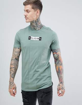 Religion muscle fit t-shirt with front panel in green