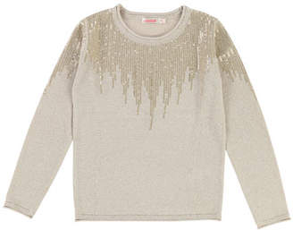 Billieblush Long-Sleeve Lurex Knit Sequin Top, Size 4-8