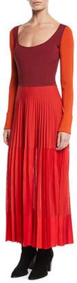 Alexander McQueen Scoop-Neck Long-Sleeve Knit-Bodice Pleated Long Dress
