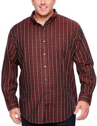 Van Heusen Long Sleeve Windowpane Button-Front Shirt-Big and Tall