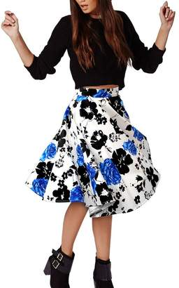 Moyishi Women Pleated Vintage Retro High Waisted A-line Skirts Floral Print Dress (S, )