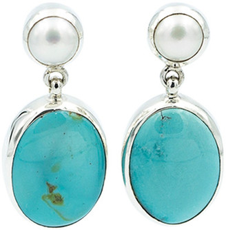Exex Design Jewelry Sterling Silver Hayden 6mm Natural Pearl & Turquoise Earrings $178 thestylecure.com