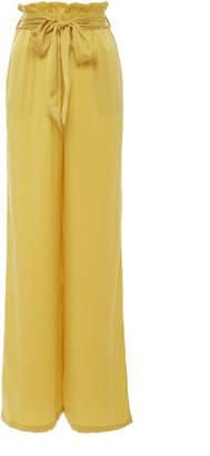 Asceno Paperbag Wide-Leg Silk-Satin Pajama Pant