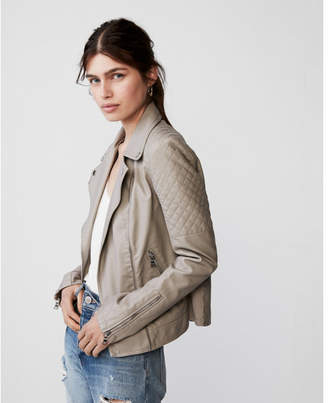 Express Faux leather quilted moto jacket