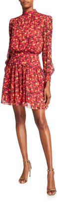Saloni Isabel Printed High-Neck Short Dress