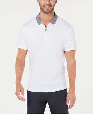 Alfani Men's Interlock Quarter-Zip Polo