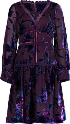 Marchesa Bishop Sleeve Velvet Burnout Dress