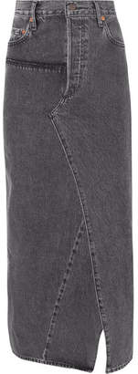 Vetements Distressed Denim Maxi Skirt - Black