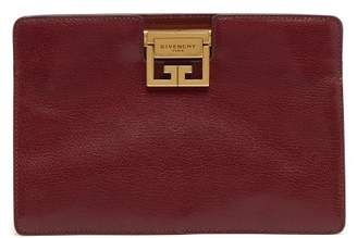 Givenchy Gv Leather Clutch - Womens - Burgundy