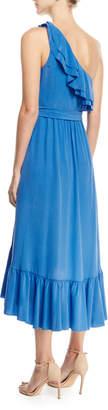 Joie Damica One-Shoulder Wrap Silk Midi Dress with Ruffled Frills