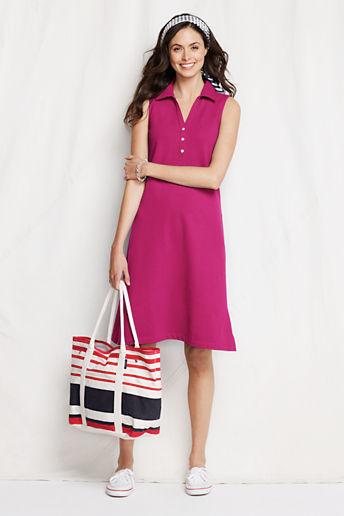 Lands' End Women's Petite Sleeveless Mesh Polo Dress