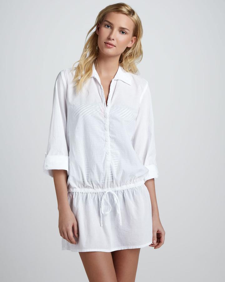 Splendid Drawstring Button-Down Tunic, White