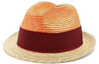 Prada - Bi Colour Straw Hat - Womens - Orange
