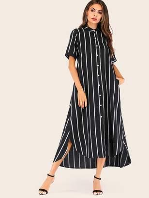 Shein Striped Asymmetrical Hem Trim Button Front Shirt Dress