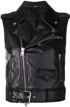 Theory faux leather biker gilet