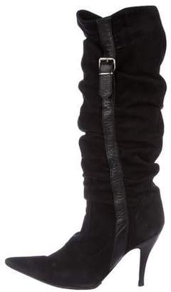 Dolce & Gabbana Suede Pointed-Toe Mid-Calf Boots