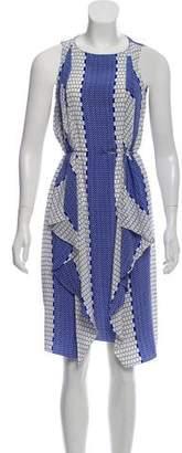 Tibi Sleeveless Printed Knee-Length Dress