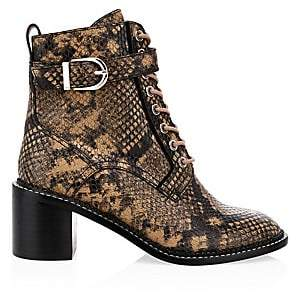 Joie Women's Raster Python-Embossed Leather Combat Boots