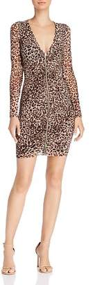 GUESS Kinzie Ruched Leopard Print Dress
