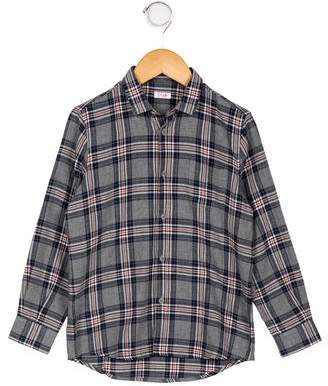 Il Gufo Boys' Plaid Button-Up Shirt