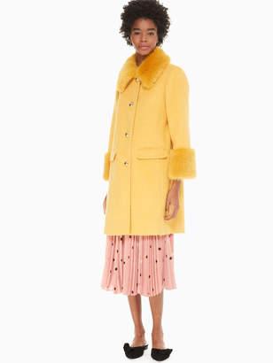 Kate Spade fluffy wool faux fur trim coat