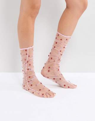 Asos DESIGN Sheer Spot Ruched Socks