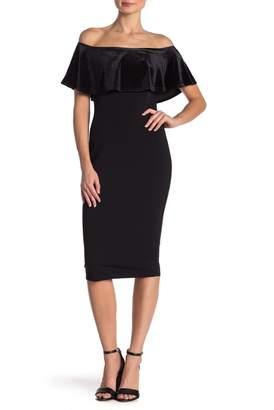 Vanity Room Off-the-Shoulder Velvet Accent Scuba Dress