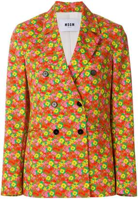 MSGM floral print double-breasted blazer