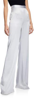 Brandon Maxwell Charmeuse Wide-Leg Pants