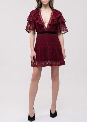 J.o.a. Ruffled Lace Dress