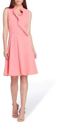Tahari Ruffle Collar Fit & Flare Dress