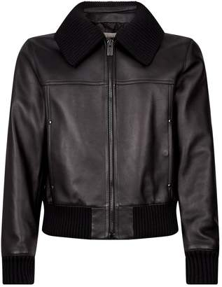 Burberry Leather Knit Collar Jacket