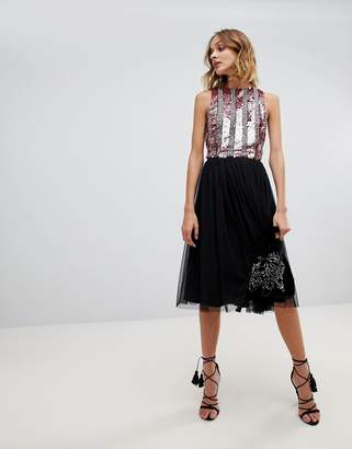 Lace and Beads Lace & Beads tulle midi skirt in black