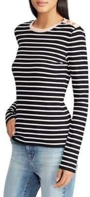 Lauren Ralph Lauren Petite Button-Shoulder Stretch-Cotton Sweater