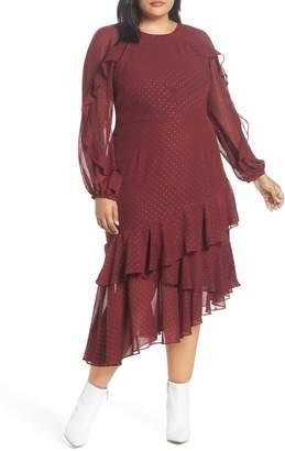 Cooper St Texture Dot & Ruffle Trim Dress